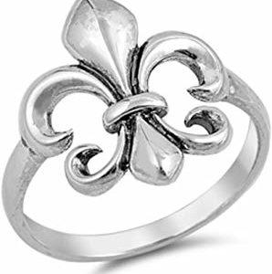 Anillo de plata de ley la flor de lis
