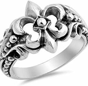 Anillo De Lis Flor de plata esterlina