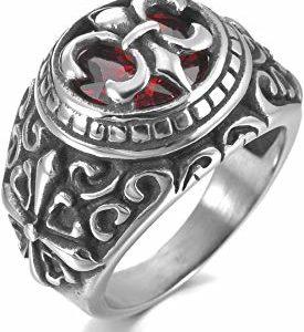 MunkiMix Acero Inoxidable Anillo Ring Cz Cubic Zirconia Circonita
