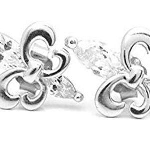 Pendiente de Plata de 1ºLEY, diseño Flor de Lis en Cristales