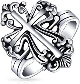 anillo cruz flor de lis